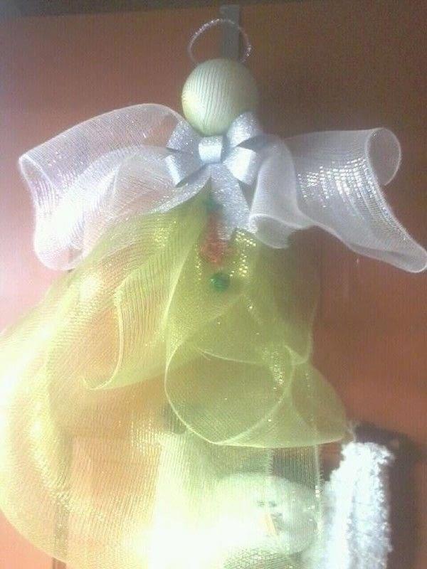 Angel In White Deco Mesh Christmas Wreath