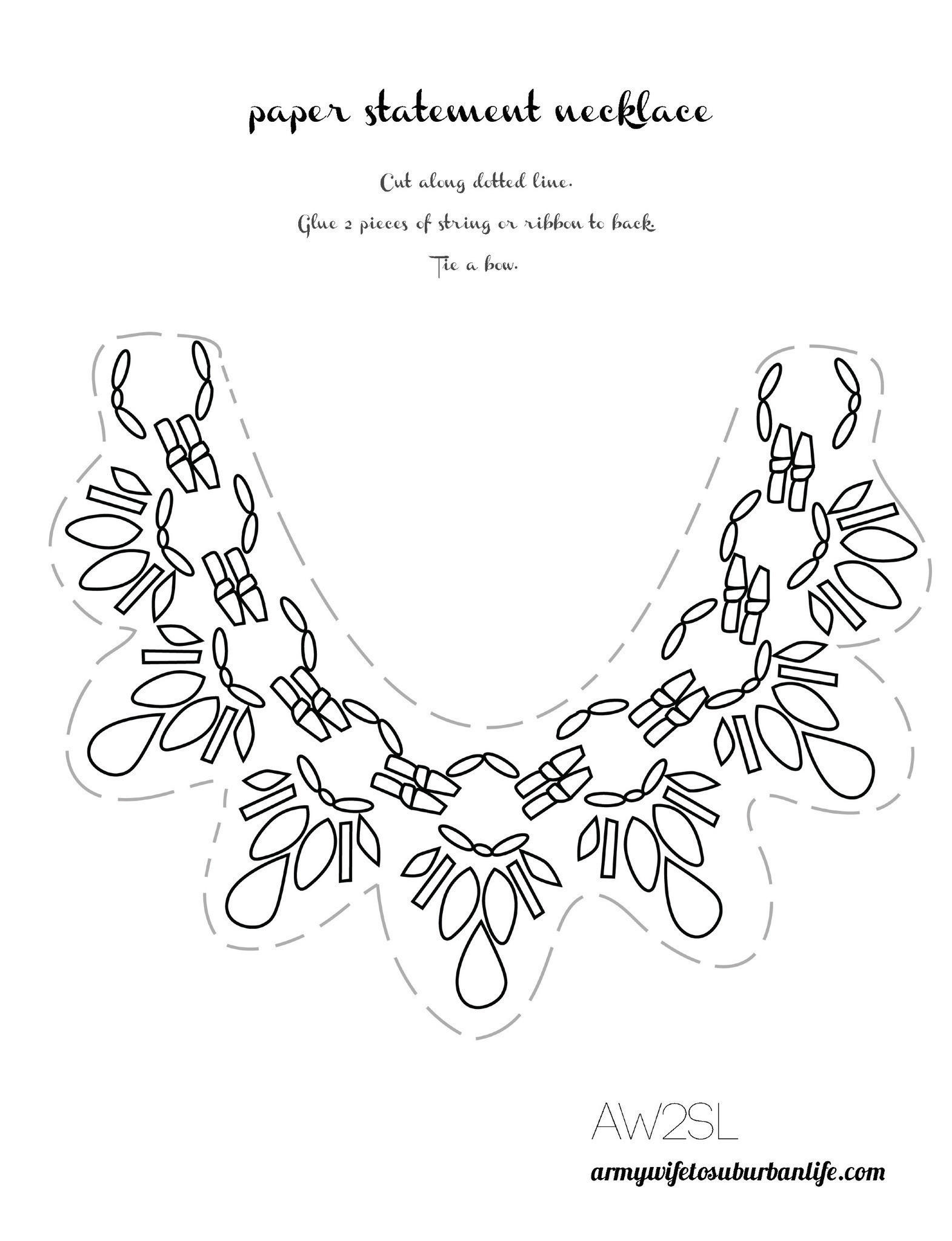 Paper Necklace Printable Craft How To Make A Paper