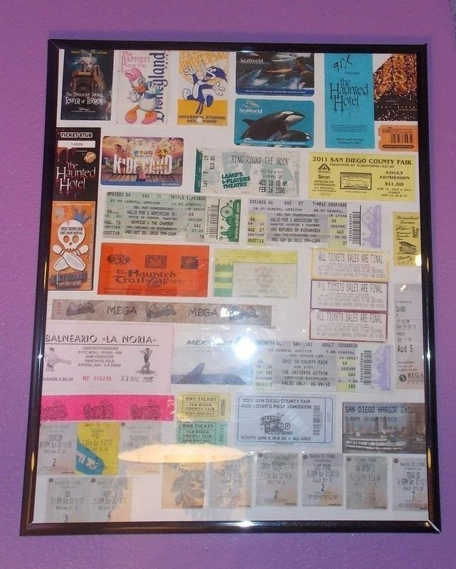 Ticket Stub Collage Wall Decor 183 How To Make A Framed