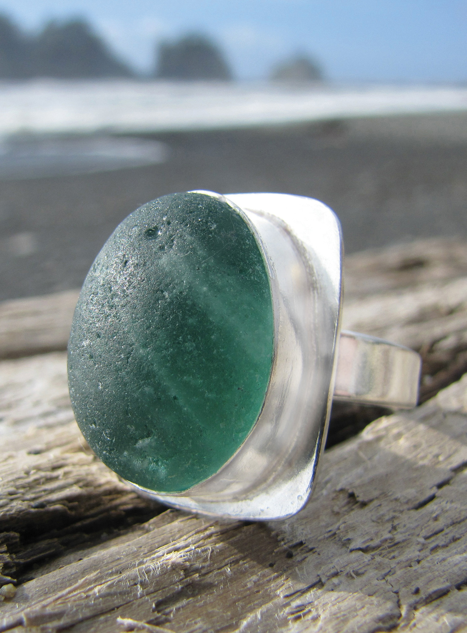 Silver Bezel Ring Extract From Sea Glass Jewelry By
