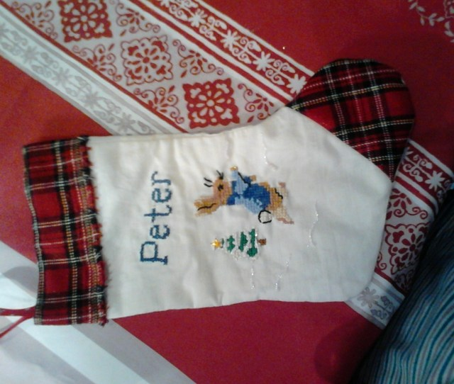 Peter Rabbit At Christmas Make A Christmas Stocking By Embellishing Cross Stitching