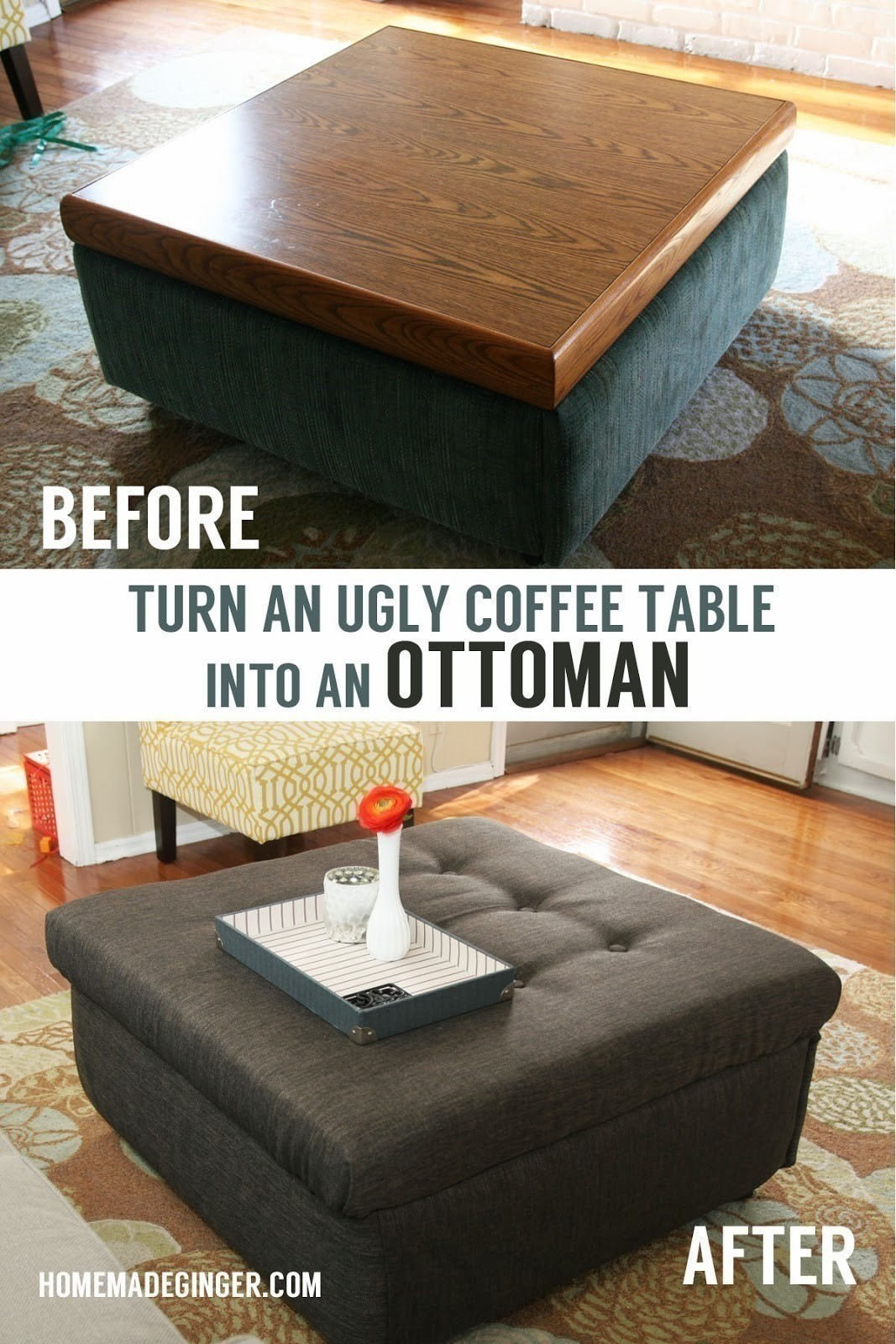 Square Upholstered Ottoman Coffee Table