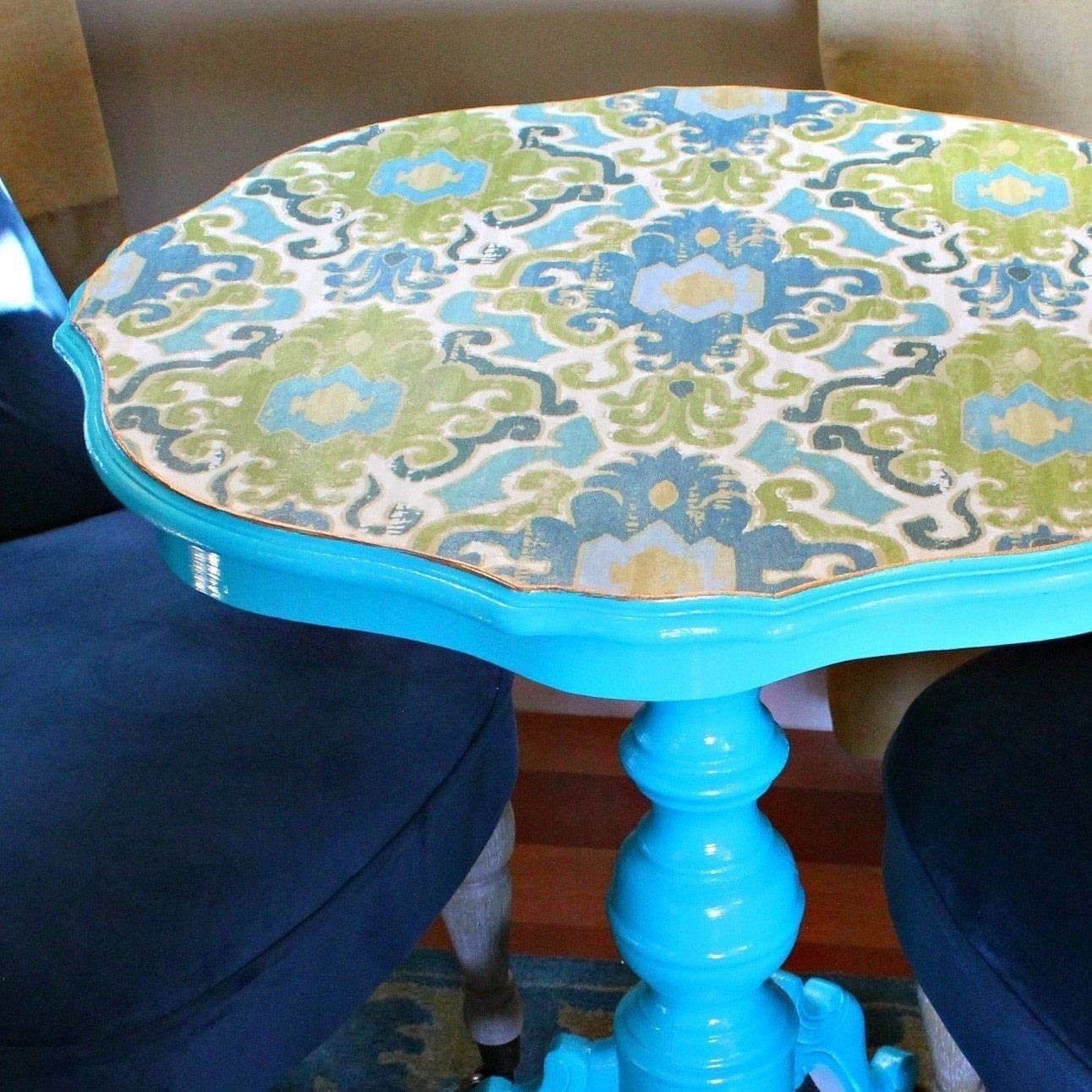 Decoupaged Fabric Table Makeover How To Make A Side