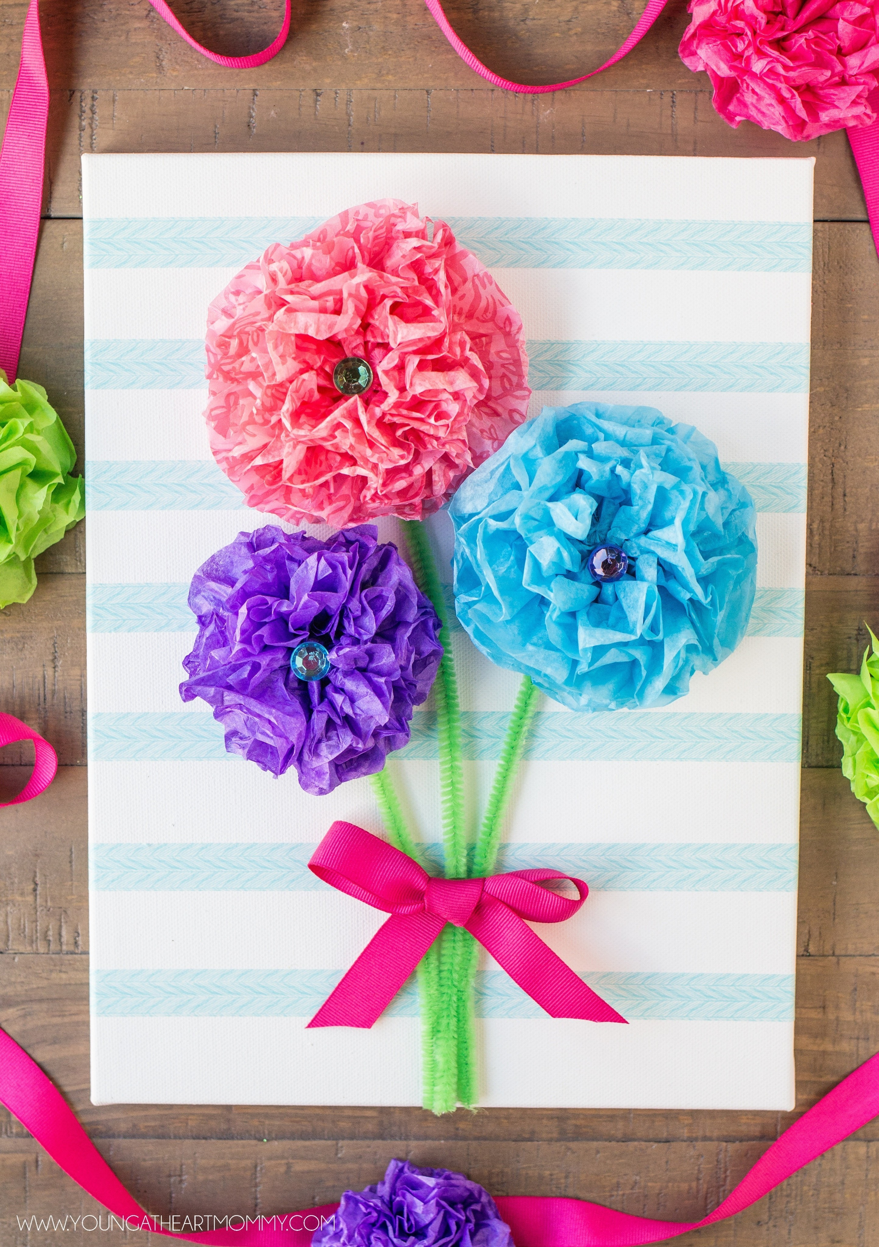 Tissue Paper Flower Bouquet Canvas How To Make Wall