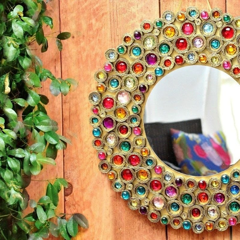 Bejeweled Boho Cardboard Mirror How To Make A Wall Mirror Home DIY On Cut Out Keep