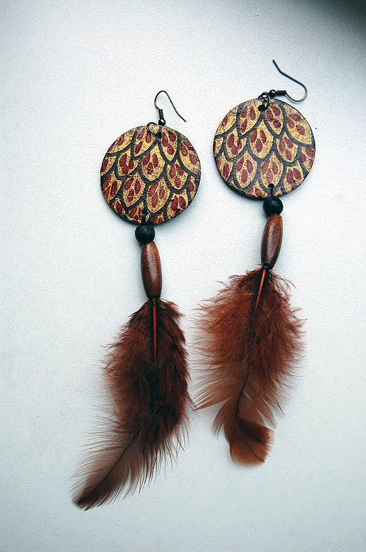 Long Dangle Brown Feather Earrings A Feather Earring