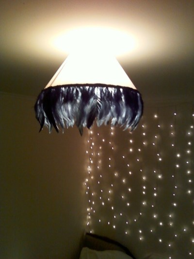 Vintage Glam Feather Lampshade From Old Ceiling Shade ...