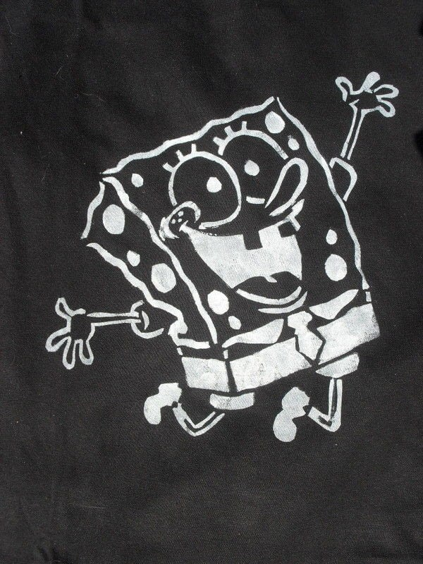 Sponge Bob Stenciled Shirt 183 A T Shirt 183 Stencilling On