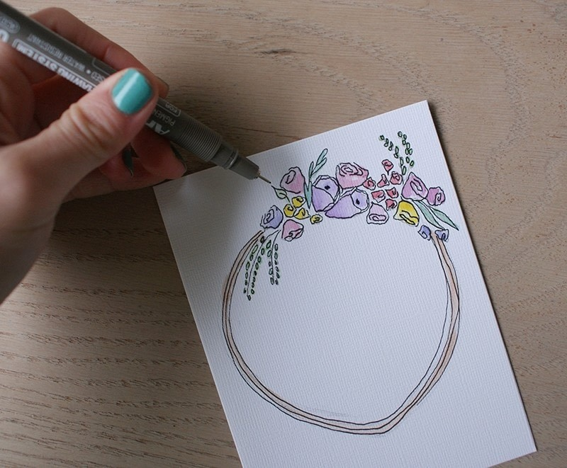 Watercolor Birthday Card With A Floral Motif How To