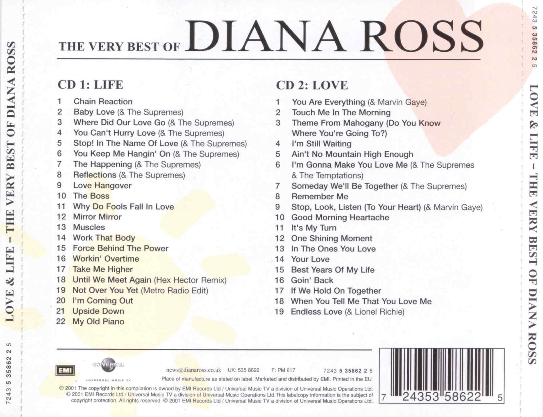 Cartula Trasera De Diana Ross Love Amp Life The Very