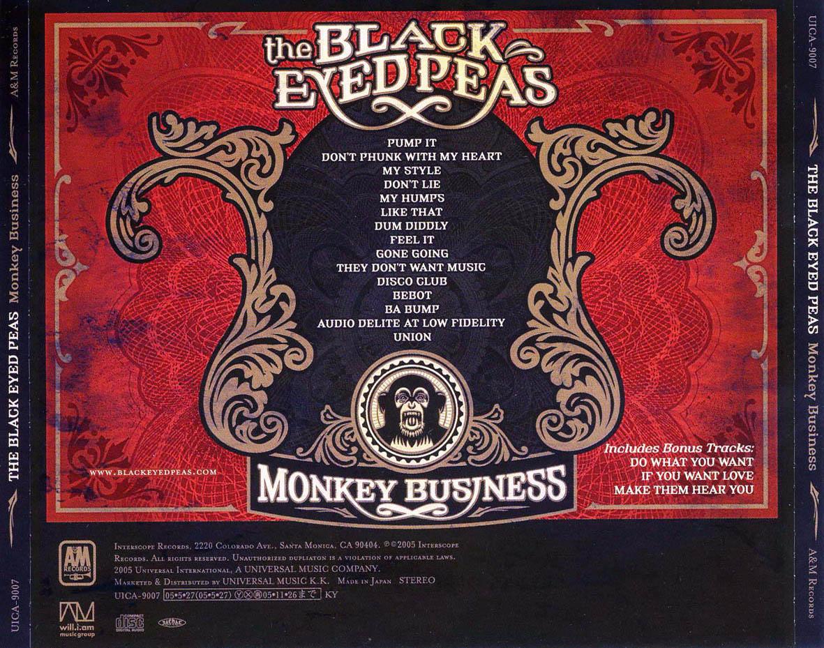 Cartula Trasera De The Black Eyed Peas Monkey Business