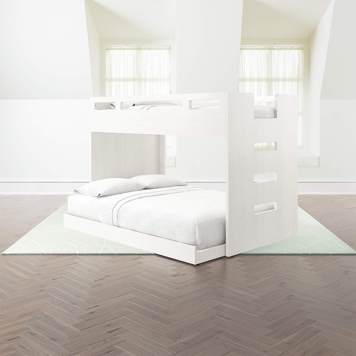 Abridged White Glaze Twin Over Full Bunk Bed Crate And Barrel