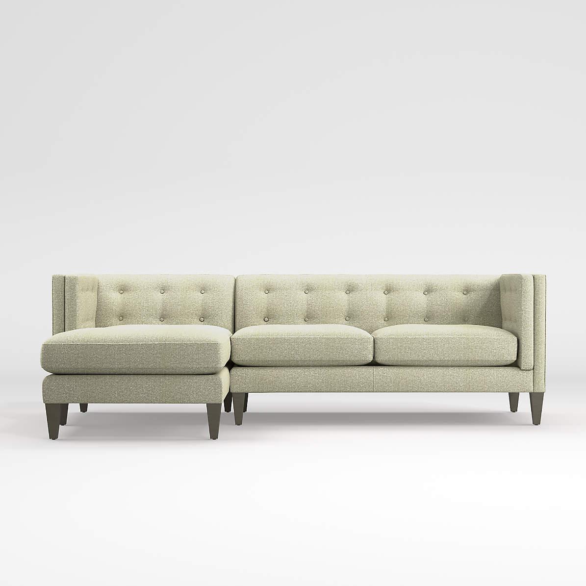 aidan grey 2 piece sectional sofa reviews crate and barrel