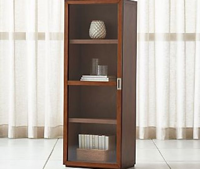 Aspect Walnut Modular Bookcase With Glass Door
