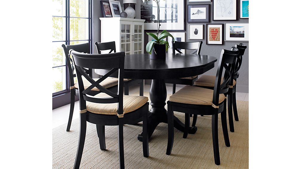 Avalon 45  Black Round Extension Dining Table   Reviews   Crate and     Avalon 45  Black Round Extension Dining Table   Reviews   Crate and Barrel