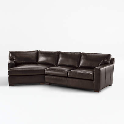 axis ii leather 2 piece left arm angled chaise sectional sofa