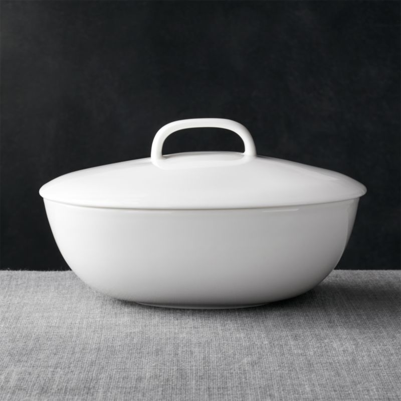 Bennett Oval Serving Bowl With Lid Reviews Crate And