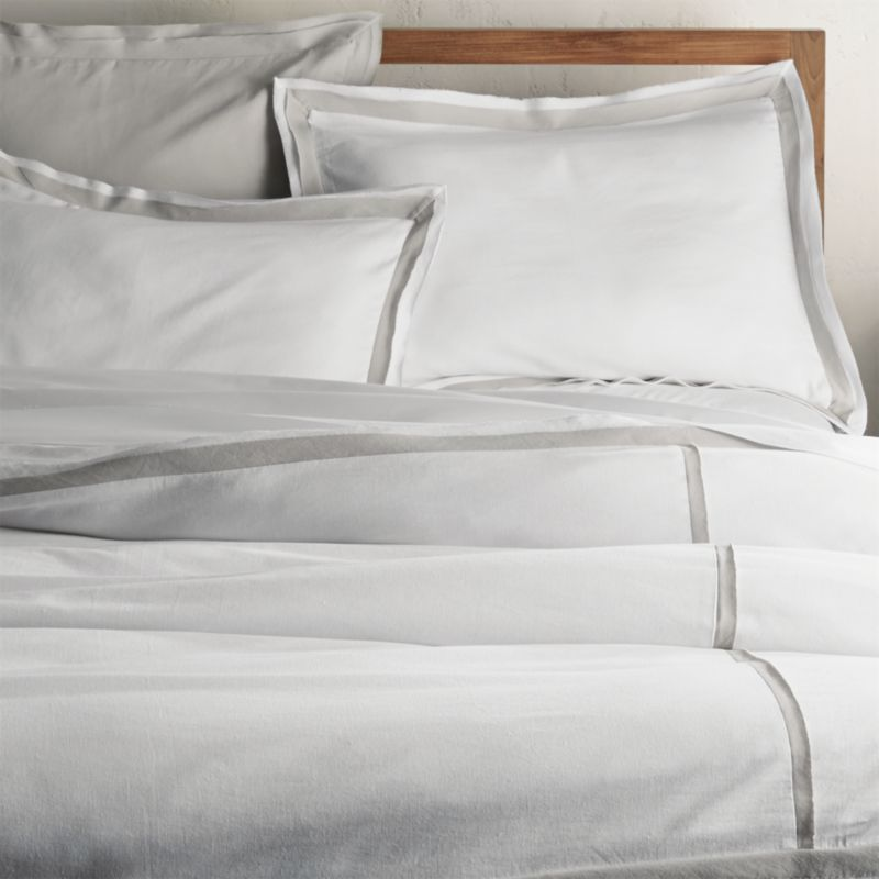 Bianca WhiteGrey FullQueen Duvet Cover Crate And Barrel