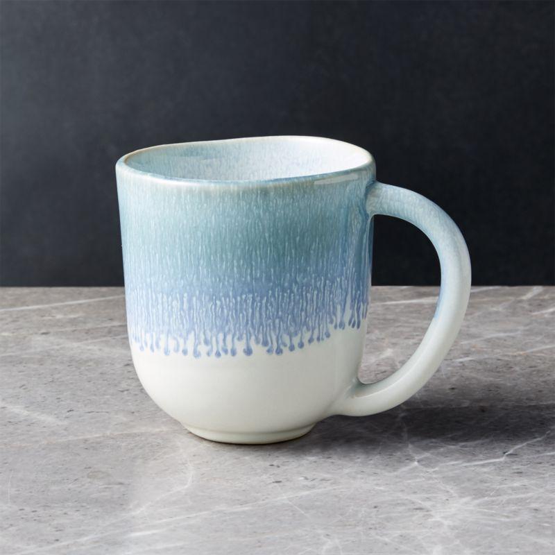 Caspian Blue Reactive Glaze Mug Reviews Crate And Barrel