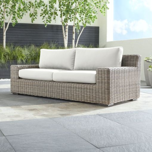 Resin Wicker Patio Furniture   Crate and Barrel Cayman Outdoor Sofa with Sunbrella      Cushions