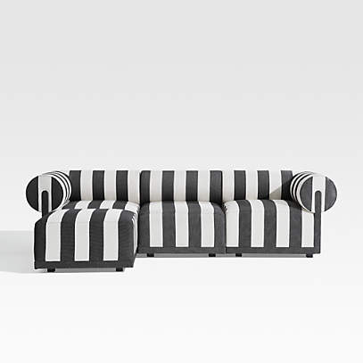 cerca striped 3 piece sectional with ottoman crate and barrel canada