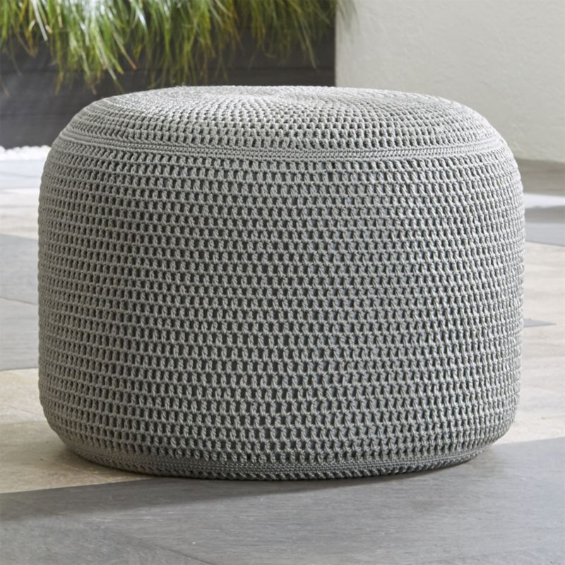 Grey Outdoor Pouf Reviews Crate And Barrel