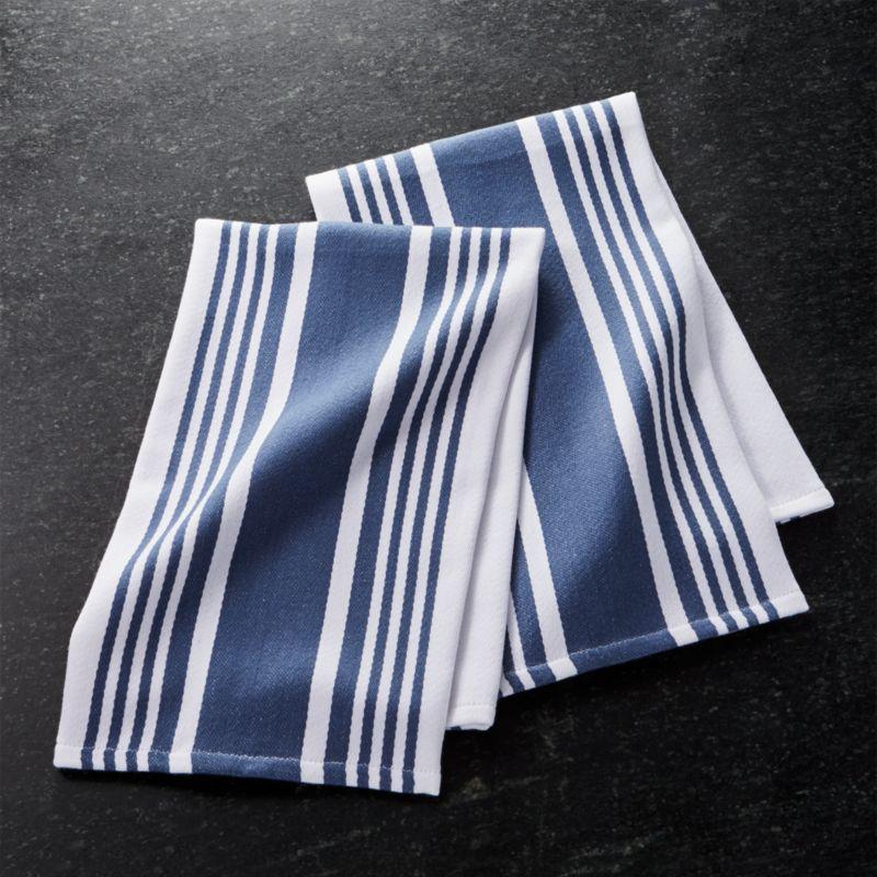 Cuisine Stripe Indigo Blue Dish Towels Set Of 2 Reviews