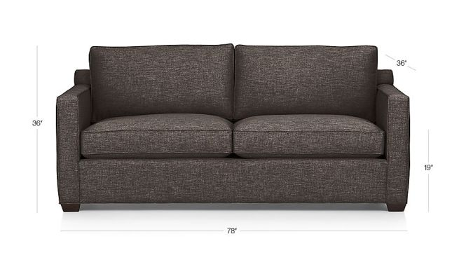 Tap To Zoom Image With Dimension For Davis Queen Sleeper Sofa Air Mattress