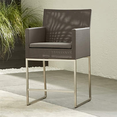 dune taupe counter stool with sunbrella cushion