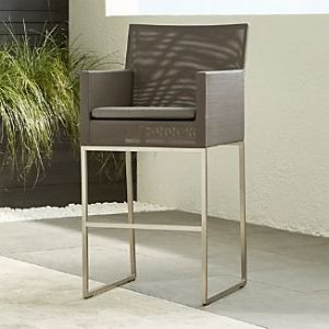 Outdoor Bar Stools   Crate and Barrel Dune 30  Bar Stool with Cushion