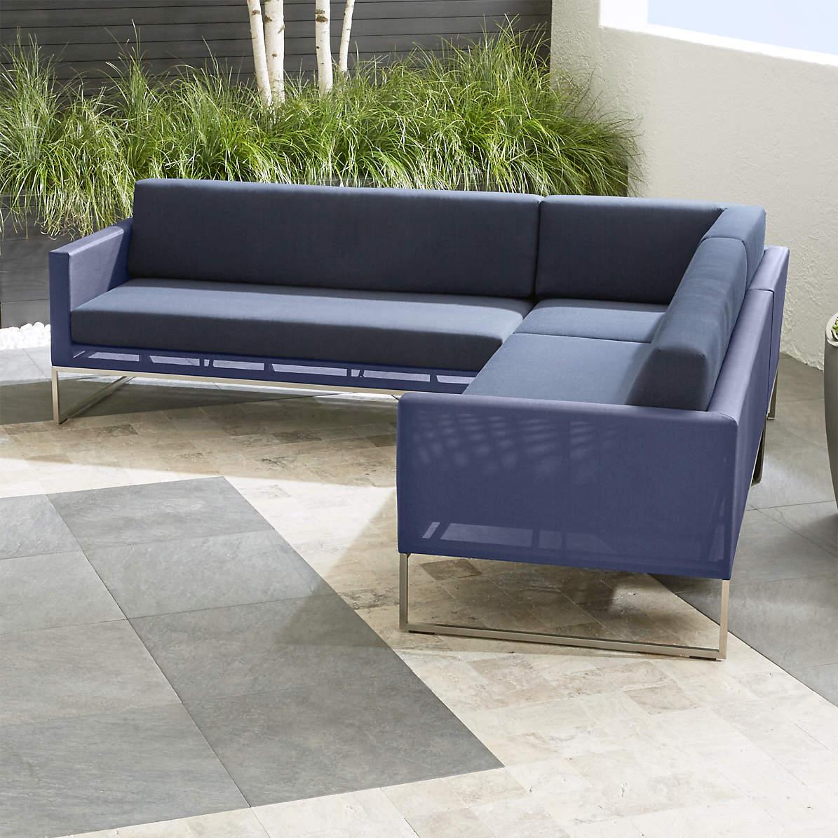 dune navy 3 piece sectional sofa with sunbrella cushions