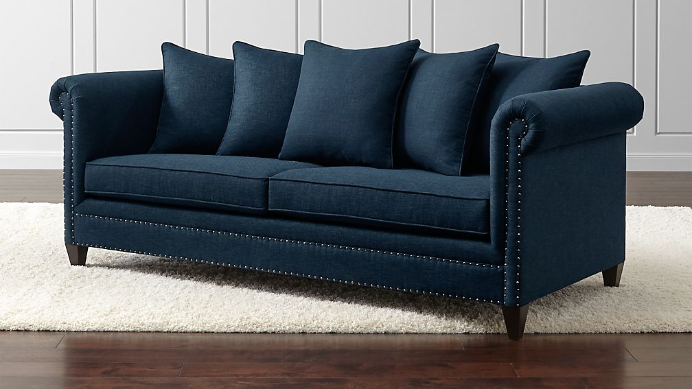 Durham Navy Blue Couch with Nailheads   Reviews   Crate and Barrel