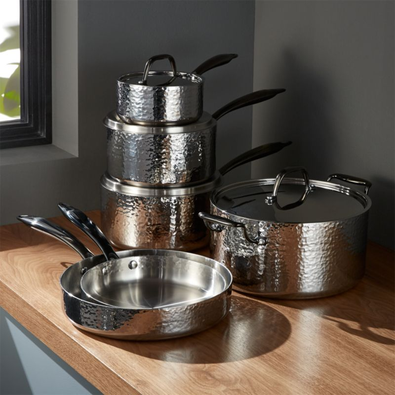 Fleischer And Wolf Seville Hammered Stainless Steel 10 Piece Cookware Set Reviews Crate And