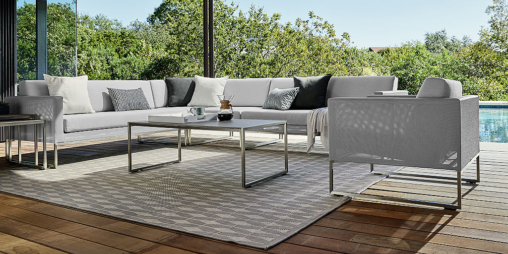 Save Money on Outdoor Furniture Sets   Crate and Barrel Dune Light Grey Lounge Collection