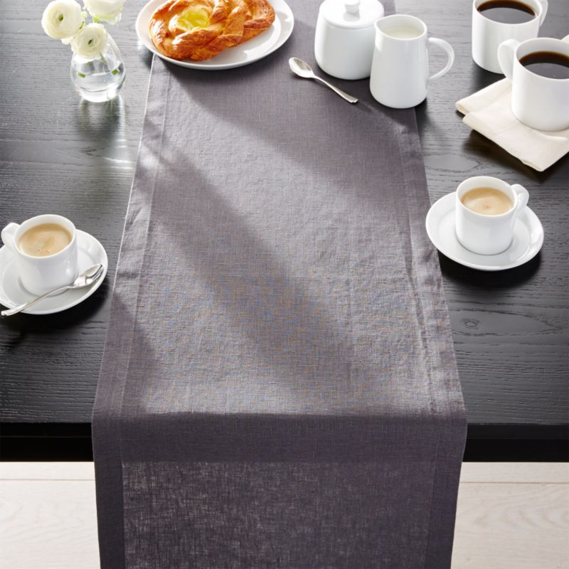 Helena Graphite Grey Linen 90 Table Runner Crate And Barrel