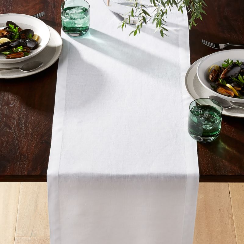 Helena White Linen Table Runner Reviews Crate And Barrel
