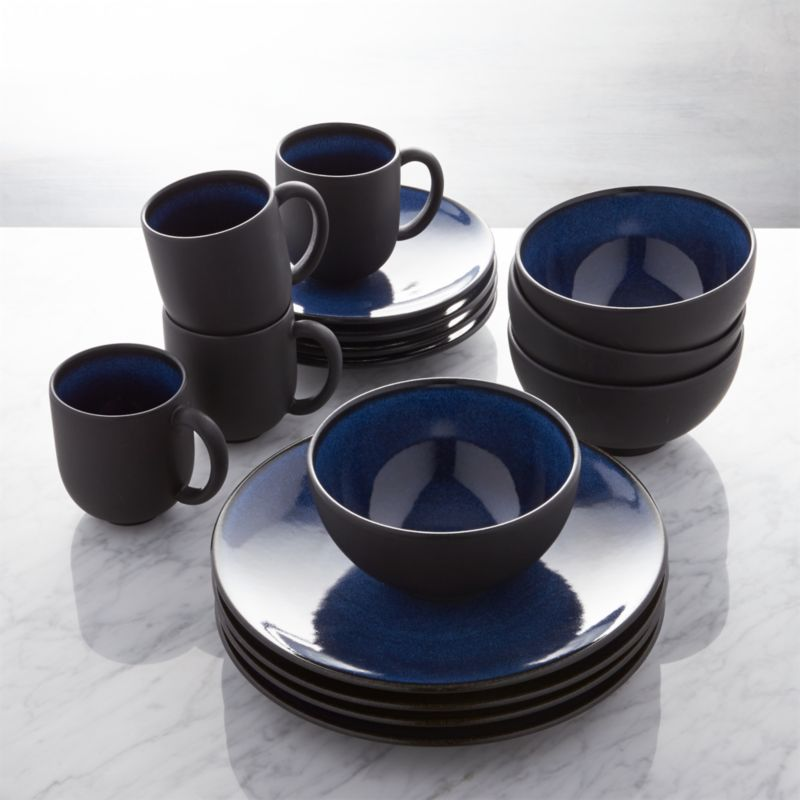 Jars Tourron Blue 16 Piece Dinnerware Set Crate And Barrel