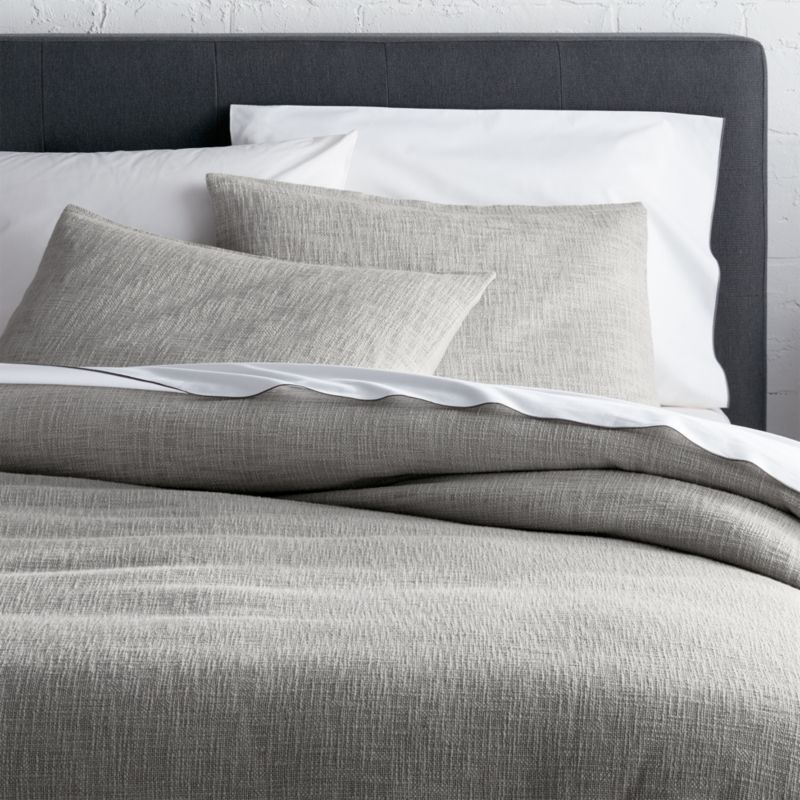Bed Linens   Bedding Collections   Crate and Barrel Lindstrom Grey Duvet Covers and Pillow Shams
