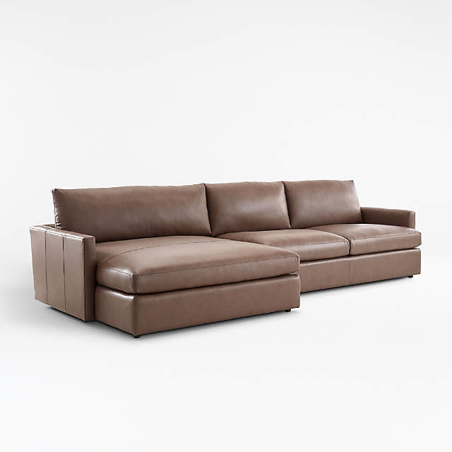 lounge ii leather 2 piece double chaise sectional sofa