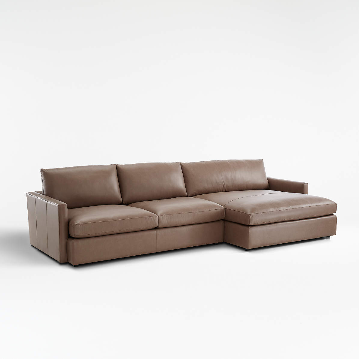 lounge ii leather 2 piece right arm double chaise sectional sofa