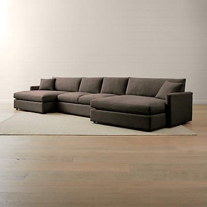 lounge ii petite 3 piece double chaise sectional sofa crate and barrel
