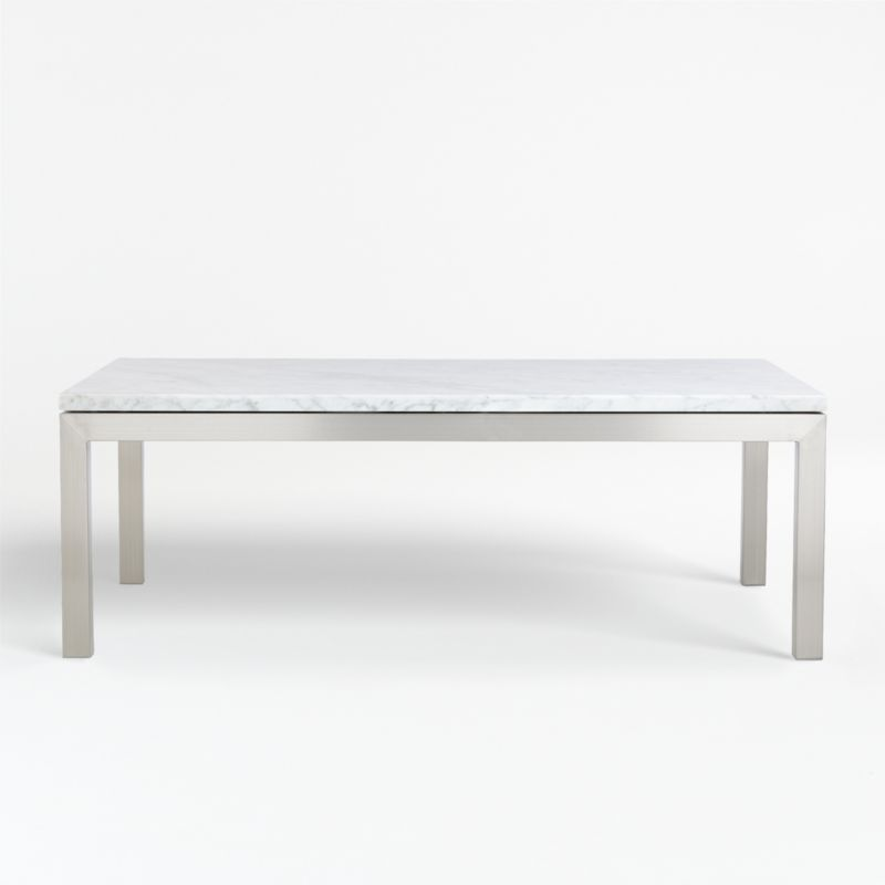parsons white marble top stainless steel base 48x28 small rectangular coffee table reviews crate and barrel