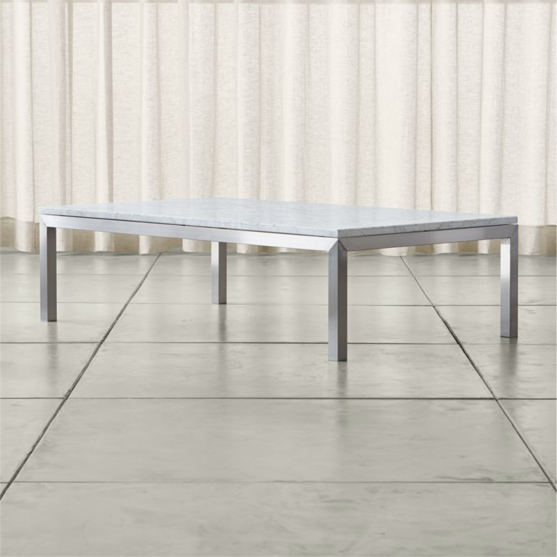 Parsons White Marble Top Stainless Steel Base 60x36 Large Rectangular Coffee Table Crate And