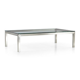 Parsons Clear Glass Top Stainless Steel Base 36x36 Square