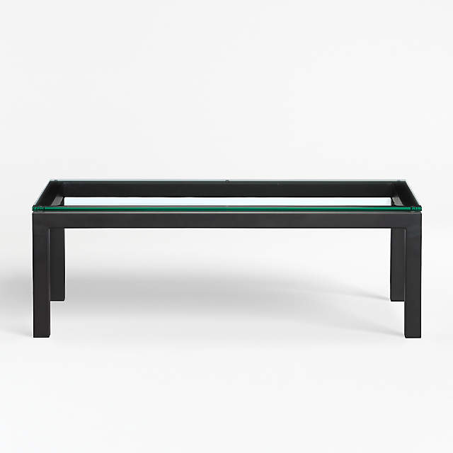 Parsons Clear Glass Top Dark Steel Base 48x28 Small Rectangular Coffee Table Reviews Crate And Barrel