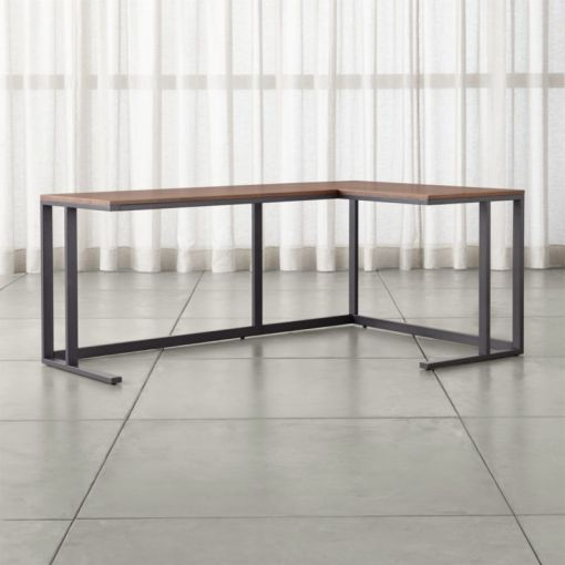 Pilsen Graphite Corner Desk with Walnut Top   Reviews   Crate and Barrel