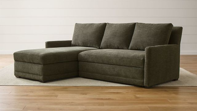 Reston 2 Piece Left Arm Chaise Trundle Sleeper Sectional Sofa Reviews Crate And Barrel