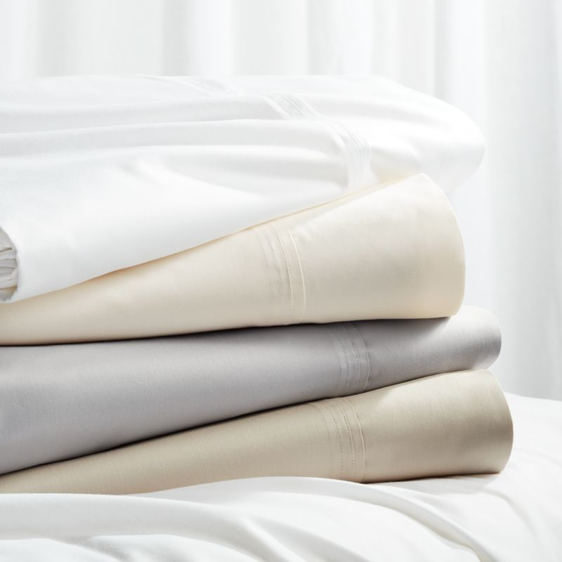 Bed Sheets  Pillow Cases and Sheet Sets   Crate and Barrel 400 Thread Count Sateen Sheet Sets