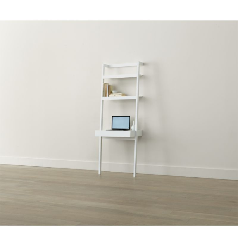 Sawyer White Leaning Desk Reviews Crate And Barrel