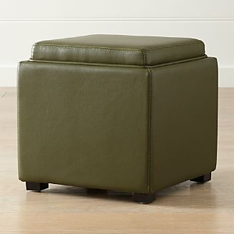 stow olive green 17 leather storage ottoman